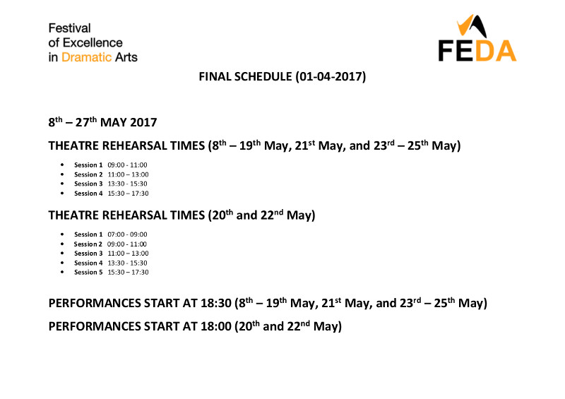 FEDA SCHEDULE page 1